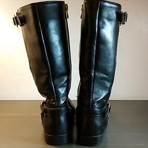 Michael Kors Signature Gold Buckle Black Boots Sz1